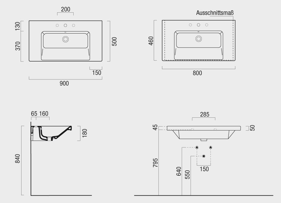waschbecken masse standard