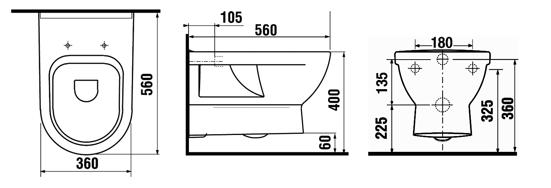 Toilette maße  R+F Optiline Keramik - MyStyle | Richter + Frenzel