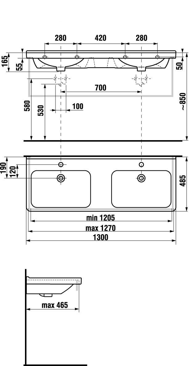 Doppelwaschtisch maße  R+F Optiline Keramik - MyStyle | Richter + Frenzel